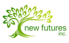 New Futures inc text beside a green tree creating the new futures inc logo